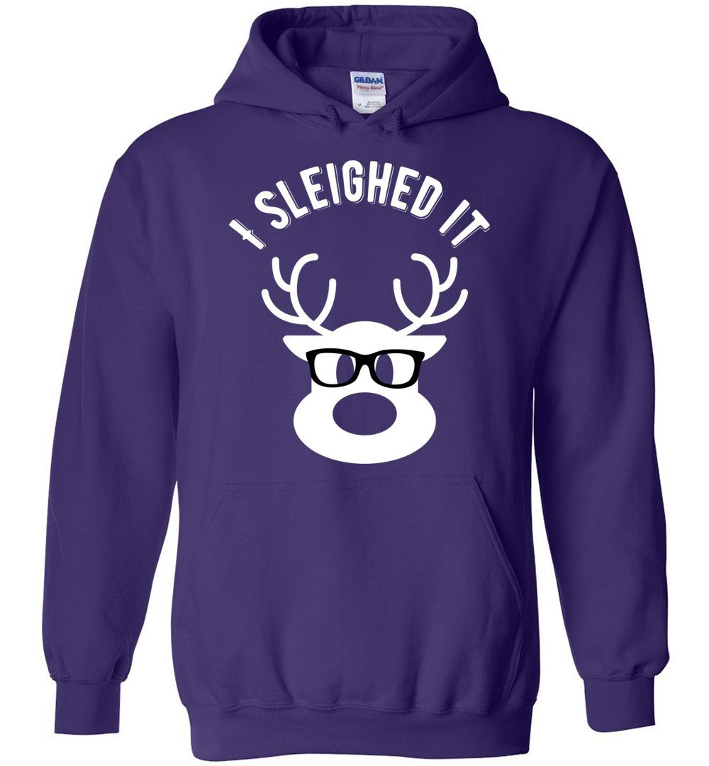 Postal Worker Tees Christmas Hoodie / Purple / S Christmas - Reindeer I sleighed it