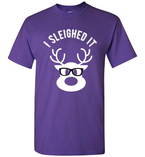 Postal Worker Tees Christmas Unisex T-Shirt / Purple / S Christmas - Reindeer I sleighed it