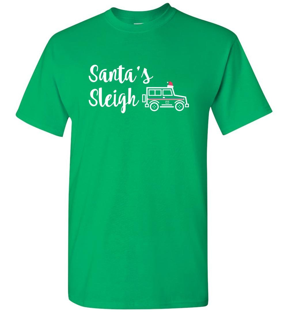 Postal Worker Tees Christmas Unisex T-Shirt / Irish Green / S Christmas - Santa's Sleigh Postal Jeep