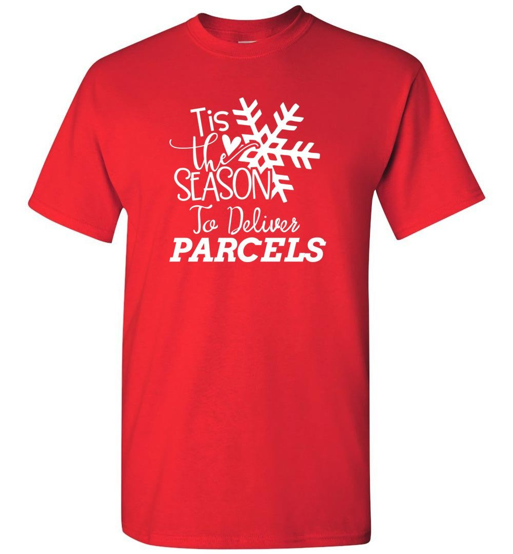 Postal Worker Tees Christmas Unisex T-Shirt / Red / S Christmas - Tis the Season to deliver parcels