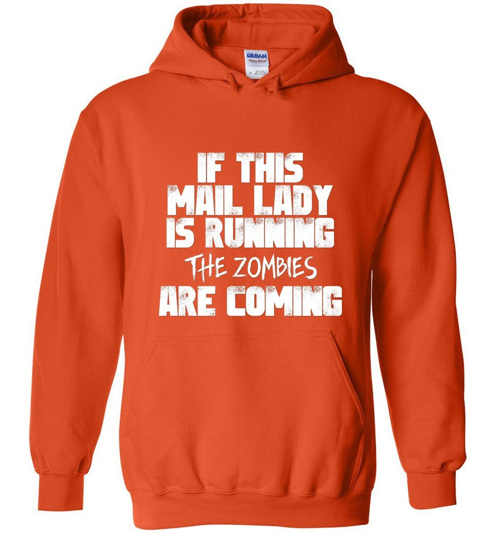 Postal Worker Tees Halloween Hoodie / Orange / S Halloween - Mail Lady - The Zombies are coming
