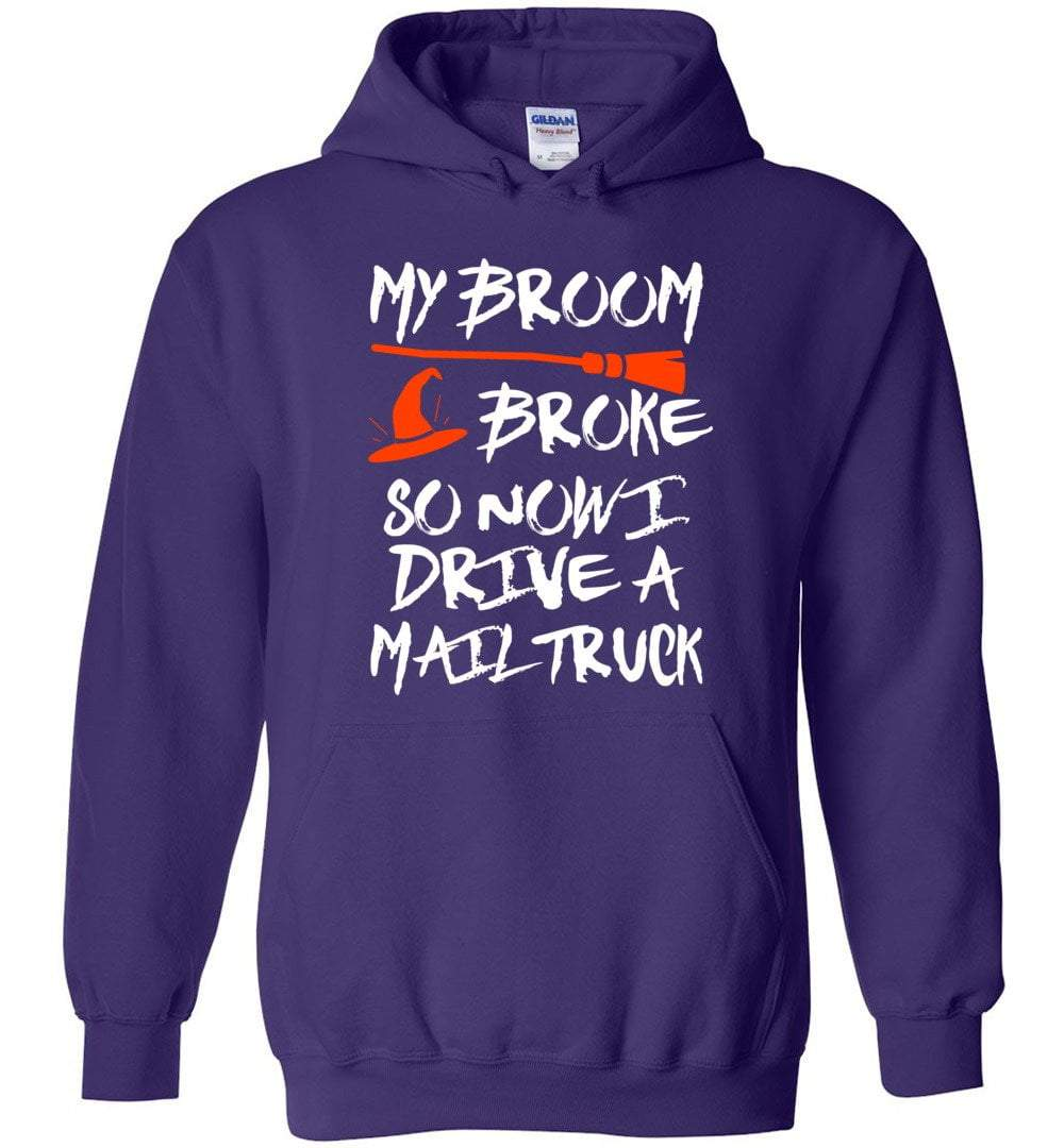 Postal Worker Tees Halloween Hoodie / Purple / S Halloween - My broom broke