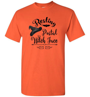 Postal Worker Tees Halloween Unisex T-Shirt / Orange / S Halloween - Resting Postal Witch Face
