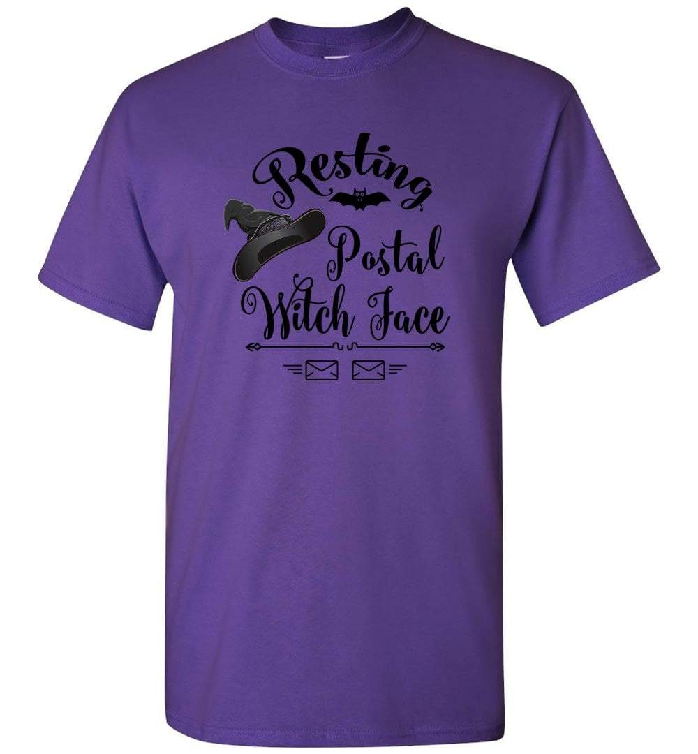 Postal Worker Tees Halloween Unisex T-Shirt / Purple / S Halloween - Resting Postal Witch Face