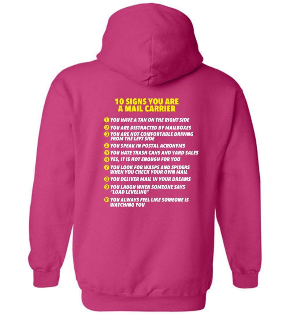 Postal Worker Tees Hoodies Heliconia / S 10 signs you might be a mail carrier - Back design Hoodie