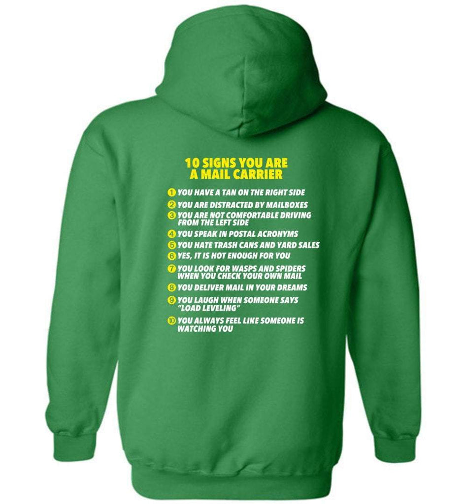 Postal Worker Tees Hoodies Irish Green / S 10 signs you might be a mail carrier - Back design Hoodie