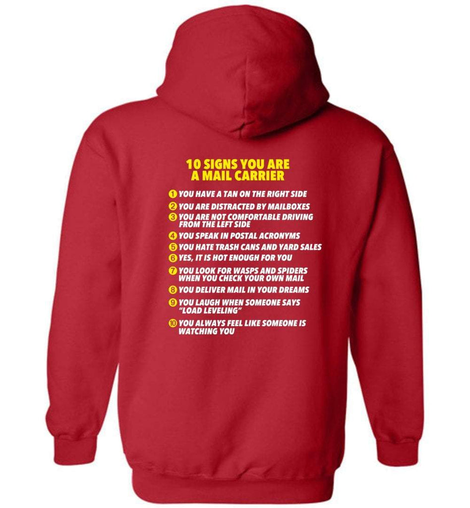 Postal Worker Tees Hoodies Red / S 10 signs you might be a mail carrier - Back design Hoodie