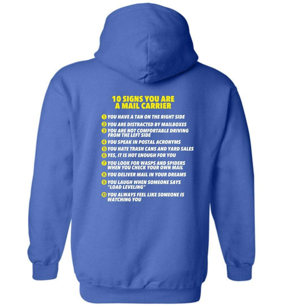 Postal Worker Tees Hoodies Royal Blue / S 10 signs you might be a mail carrier - Back design Hoodie