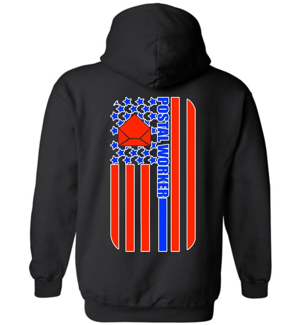 Postal Worker Tees Hoodies Black / S Back Design - Postal Worker Flag Hoodie