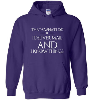 Postal Worker Tees Hoodies Purple / S I deliver mail and I know things Hoodie