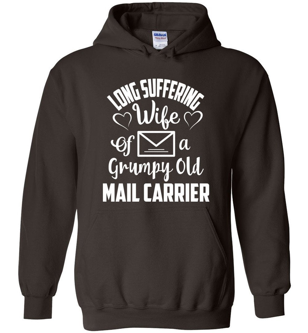 Postal Worker Tees Hoodies Dark Chocolate / S Long suffering wife Hoodie