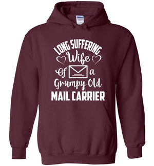 Postal Worker Tees Hoodies Maroon / S Long suffering wife Hoodie