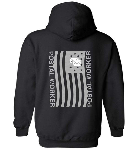 Postal Worker Tees Hoodies Black / S Postal worker flag - back design Hoodie