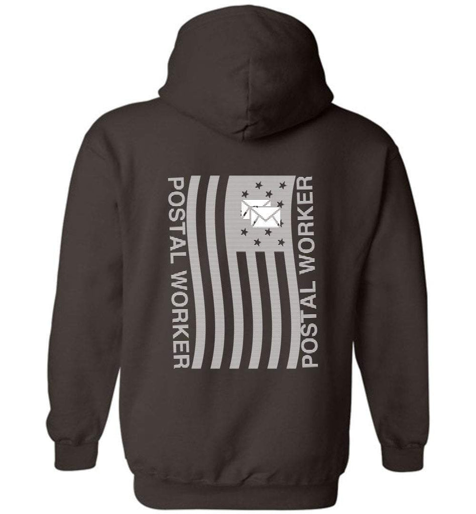 Postal Worker Tees Hoodies Dark Chocolate / S Postal worker flag - back design Hoodie