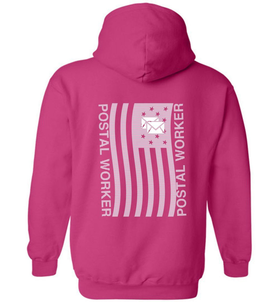 Postal Worker Tees Hoodies Heliconia / S Postal worker flag - back design Hoodie