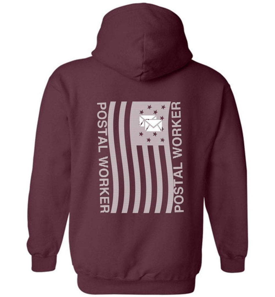 Postal Worker Tees Hoodies Maroon / S Postal worker flag - back design Hoodie