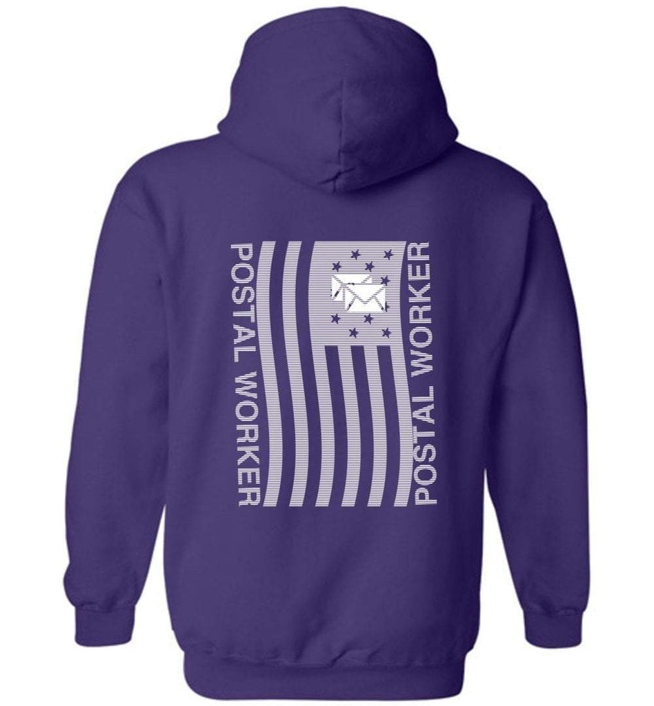 Postal Worker Tees Hoodies Purple / S Postal worker flag - back design Hoodie