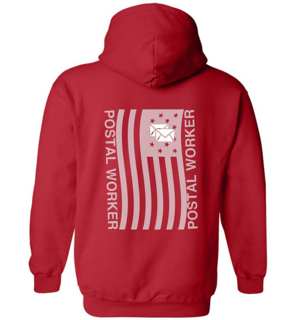 Postal Worker Tees Hoodies Red / S Postal worker flag - back design Hoodie