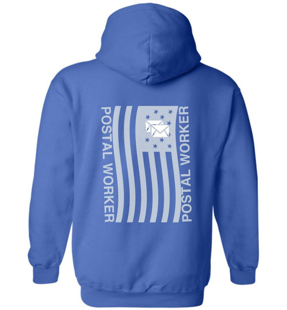 Postal Worker Tees Hoodies Royal Blue / S Postal worker flag - back design Hoodie