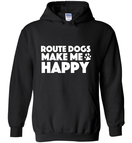 Postal Worker Tees Hoodies Black / S Route dogs make me happy Hoodie