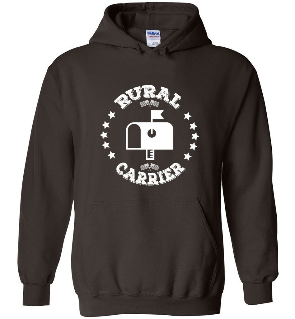 Postal Worker Tees Hoodies Dark Chocolate / S Rural Carrier Flags and Stars Hoodie