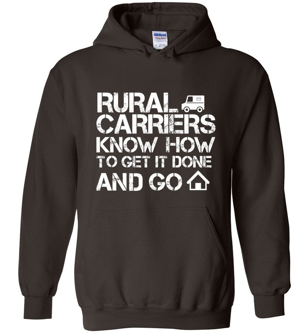 Postal Worker Tees Hoodies Dark Chocolate / S Rural Carriers Get the route done Hoodie