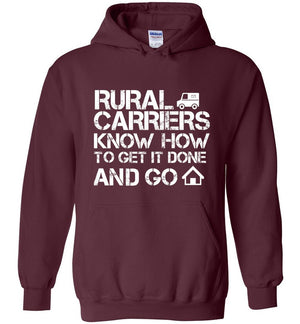 Postal Worker Tees Hoodies Maroon / S Rural Carriers Get the route done Hoodie