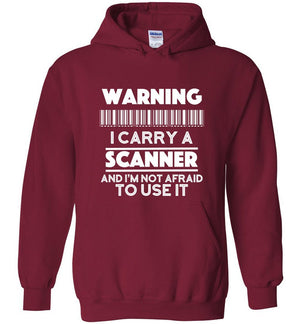 Postal Worker Tees Hoodies Cardinal Red / S Warning I carry a Scanner Hoodie