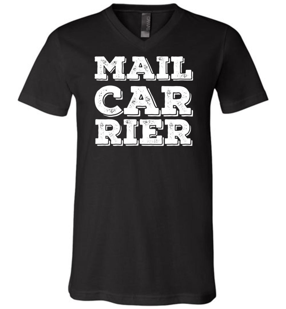 Postal Worker Tees Men's V-Neck Black / S Big Letter Mail Carrier Men's V-Neck