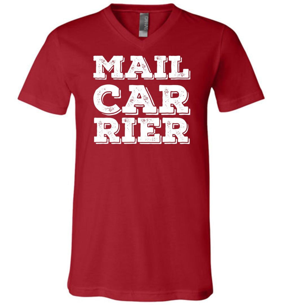 Postal Worker Tees Men's V-Neck Canvas Red / S Big Letter Mail Carrier Men's V-Neck