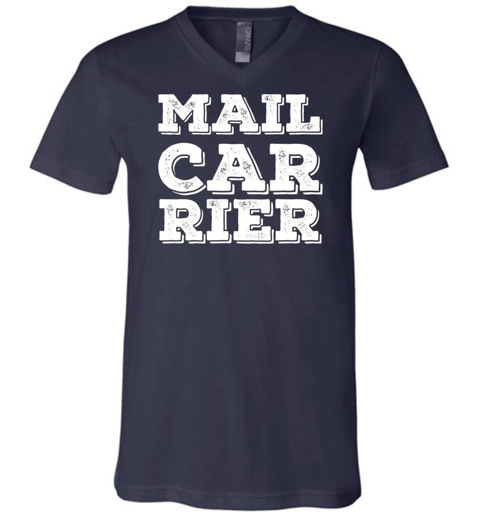 Postal Worker Tees Men's V-Neck Navy / S Big Letter Mail Carrier Men's V-Neck