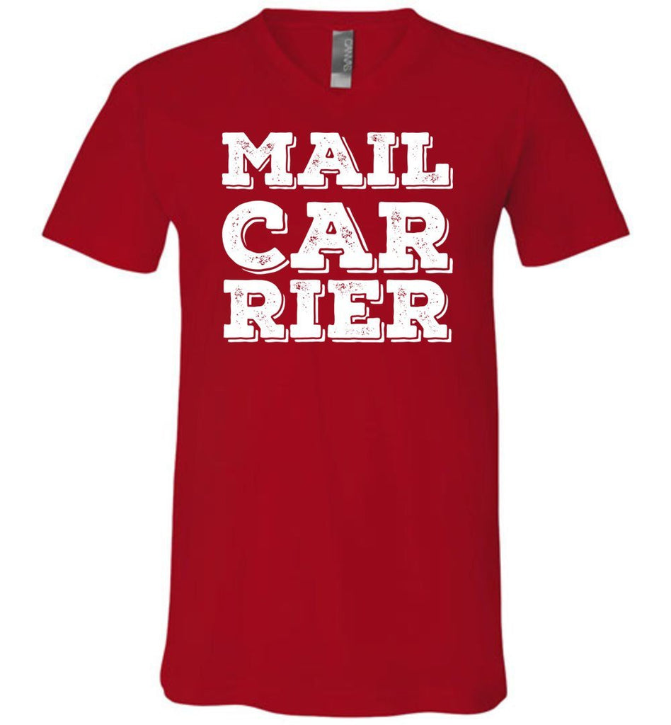 Postal Worker Tees Men's V-Neck Red / S Big Letter Mail Carrier Men's V-Neck