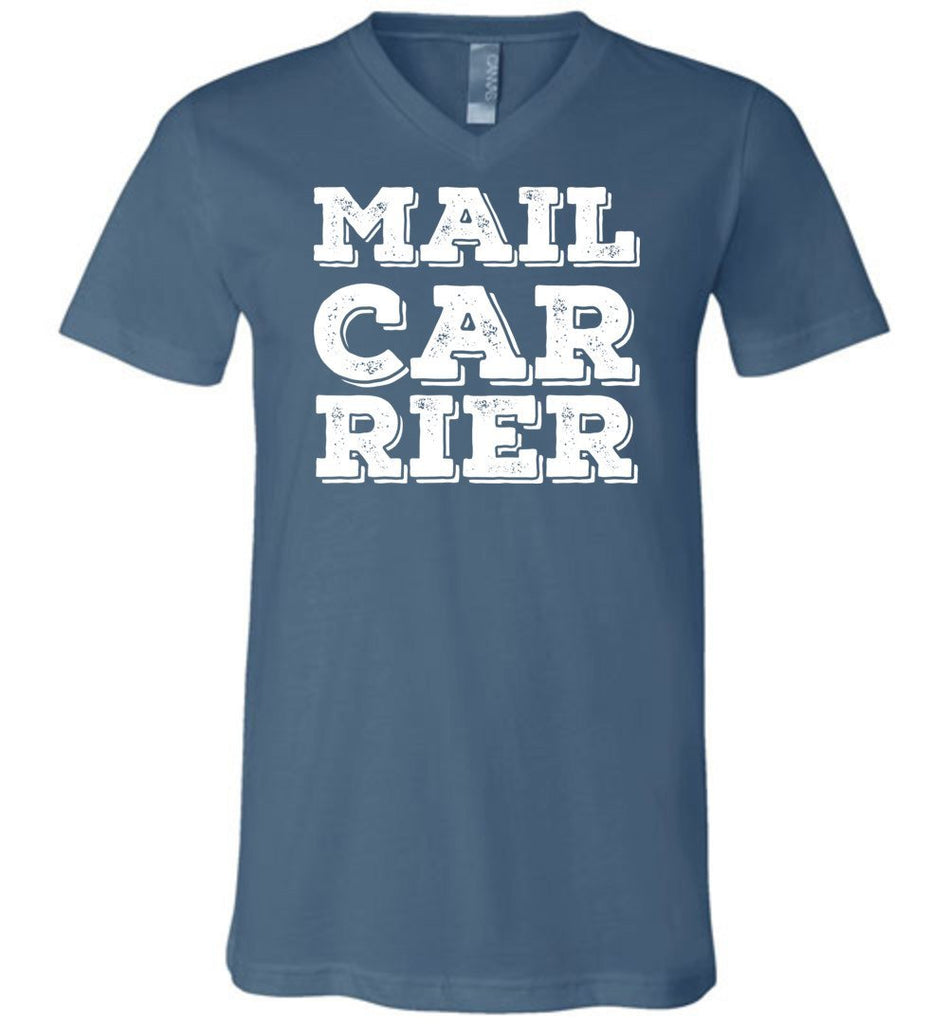 Postal Worker Tees Men's V-Neck Steel Blue / S Big Letter Mail Carrier Men's V-Neck