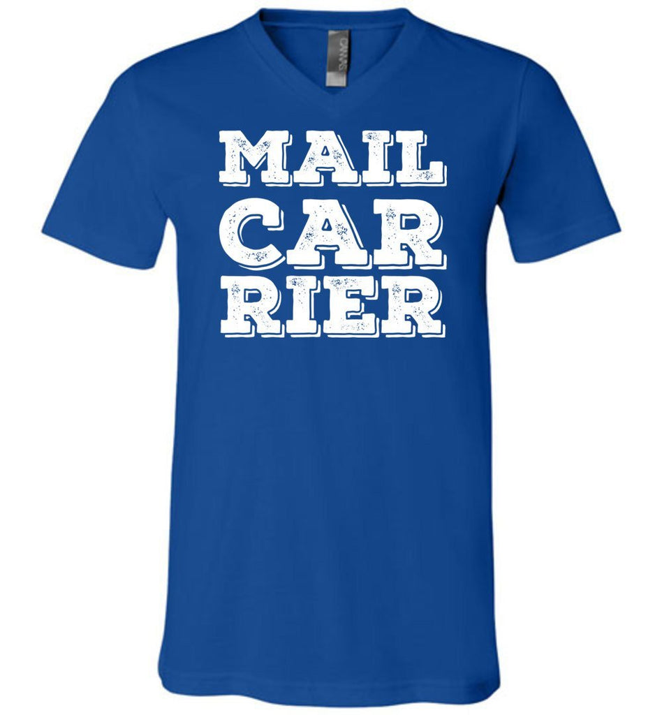 Postal Worker Tees Men's V-Neck True Royal / S Big Letter Mail Carrier Men's V-Neck