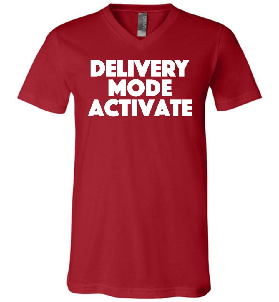 Postal Worker Tees Men's V-Neck Canvas Red / S Delivery Mode activate Men's V-Neck Tshirt