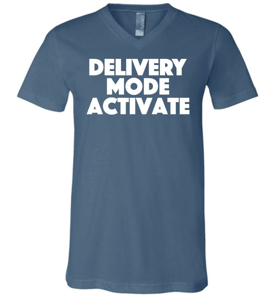 Postal Worker Tees Men's V-Neck Steel Blue / S Delivery Mode activate Men's V-Neck Tshirt