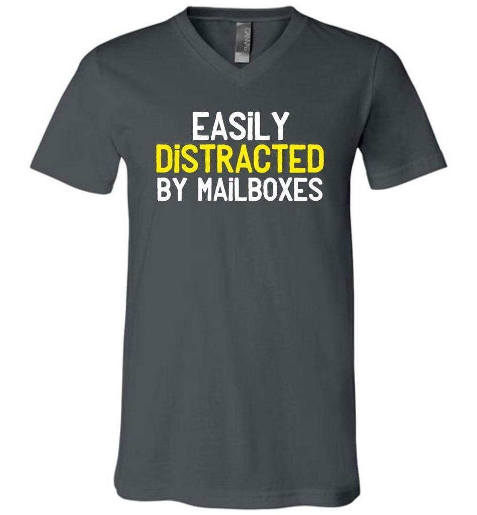 Postal Worker Tees Men's V-Neck Asphalt / S Easily Distracted by Mailboxes Men's V-Neck Tshirt