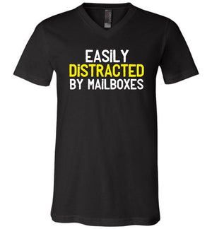 Postal Worker Tees Men's V-Neck Black / S Easily Distracted by Mailboxes Men's V-Neck Tshirt