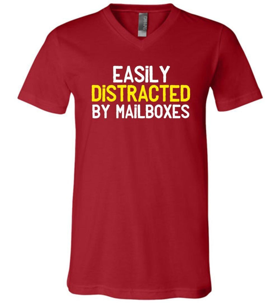 Postal Worker Tees Men's V-Neck Canvas Red / S Easily Distracted by Mailboxes Men's V-Neck Tshirt