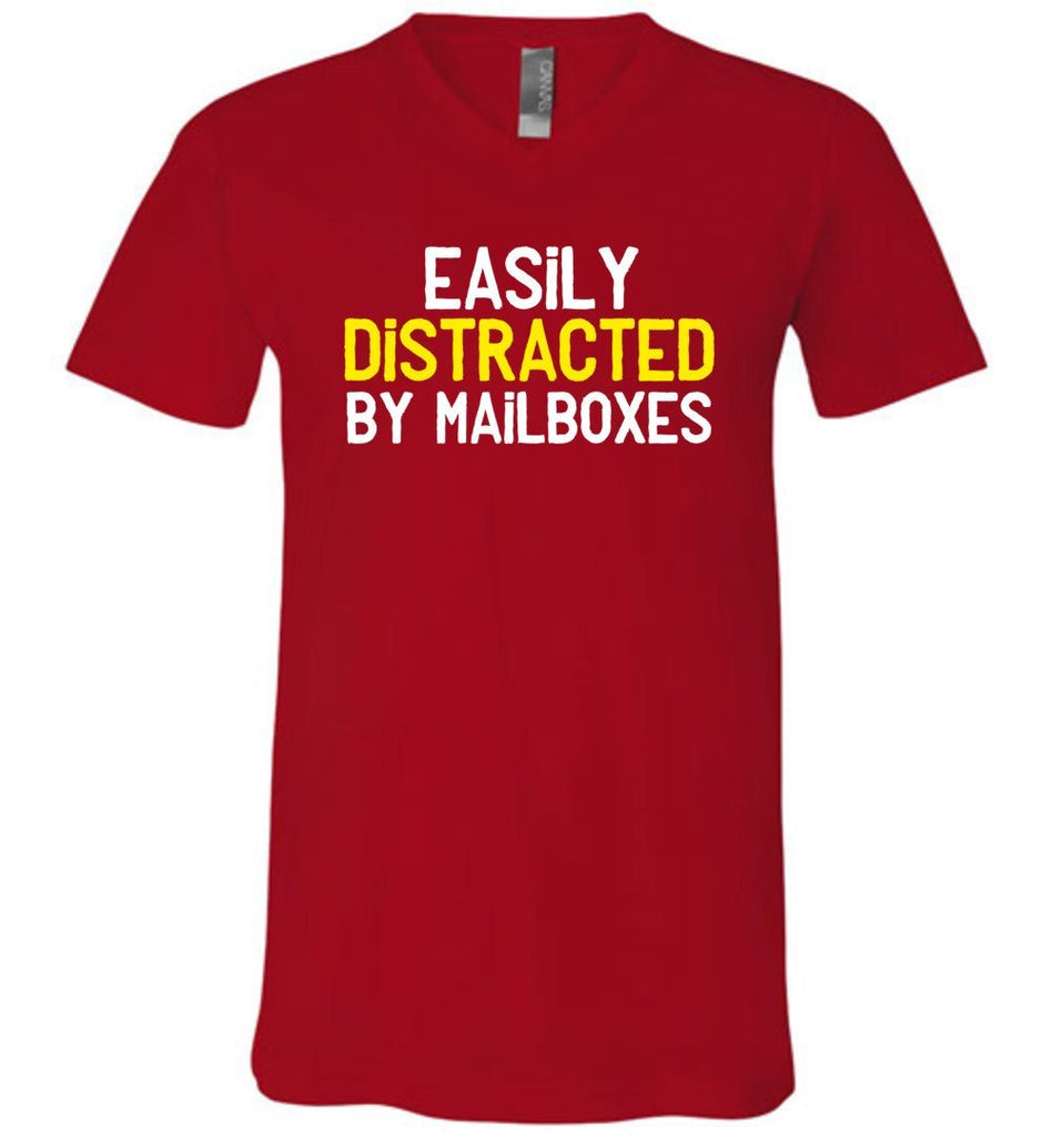 Postal Worker Tees Men's V-Neck Red / S Easily Distracted by Mailboxes Men's V-Neck Tshirt
