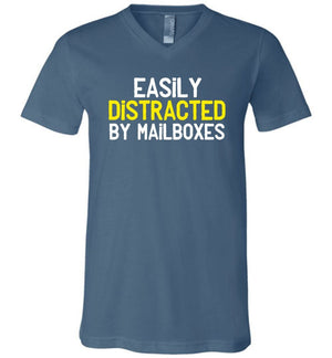 Postal Worker Tees Men's V-Neck Steel Blue / S Easily Distracted by Mailboxes Men's V-Neck Tshirt