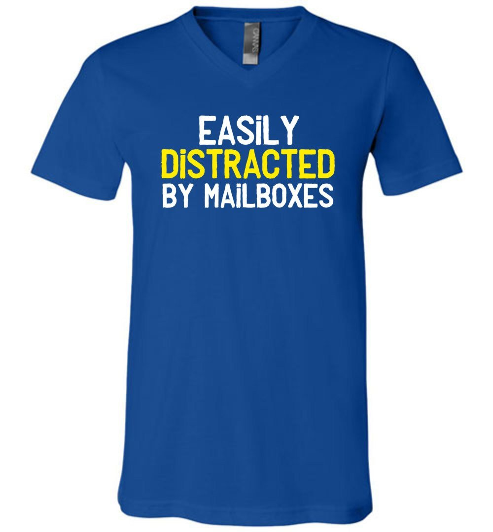 Postal Worker Tees Men's V-Neck True Royal / S Easily Distracted by Mailboxes Men's V-Neck Tshirt