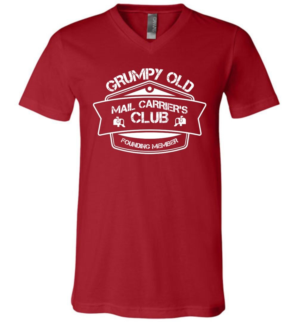 Postal Worker Tees Men's V-Neck Canvas Red / S Grumpy old mail carriers club Men's V-Neck Tshirt