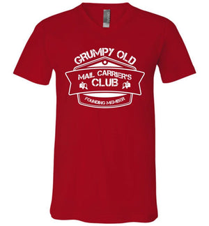 Postal Worker Tees Men's V-Neck Red / S Grumpy old mail carriers club Men's V-Neck Tshirt