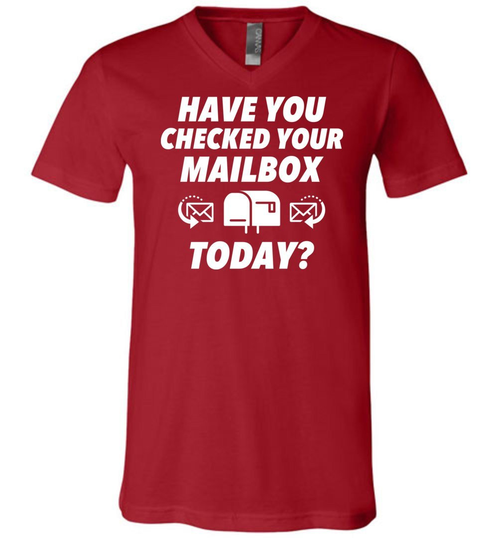 Postal Worker Tees Men's V-Neck Canvas Red / S Have you checked your mailbox Men's V-Neck Tshirt