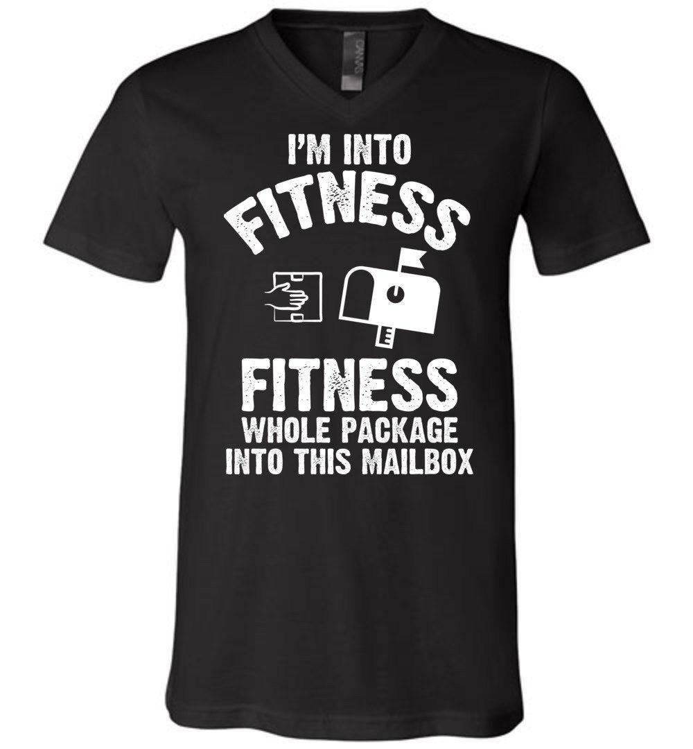 Postal Worker Tees Men's V-Neck Black / S I'm into fitness Men's V-Neck Tshirt