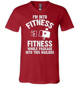 Postal Worker Tees Men's V-Neck Canvas Red / S I'm into fitness Men's V-Neck Tshirt