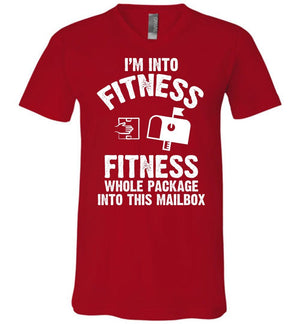 Postal Worker Tees Men's V-Neck Red / S I'm into fitness Men's V-Neck Tshirt
