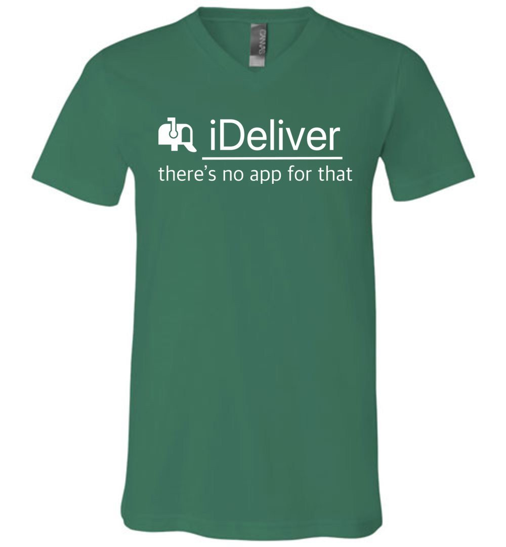 Postal Worker Tees Men's V-Neck Kelly / S iDeliver - No app for that Men's V-Neck Tshirt