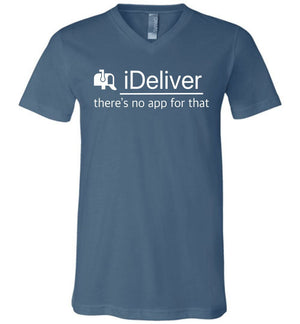 Postal Worker Tees Men's V-Neck Steel Blue / S iDeliver - No app for that Men's V-Neck Tshirt